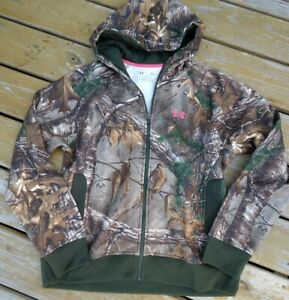 Under Armour Cold Gear Loose Fit Youth Size Large Camo Green Zip Front Hoodie $19.99
