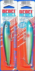 2 REBEL JUMPIN MINNOW TOPWATER LURES PILCHARD