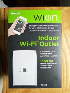 WOODS WiOn 50050 Indoor WiFi Outlet Plug Wireless Switch With 1 Grounded White
