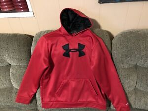 Under Armour Youth XL Storm Cold Gear Large Sewn Logo Hoodie.Red Black. A+++ $9.99