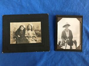 Antique Photographs Century Old PORTRAITS Lot of 2 Young Girls Woman by the Sea $10.00