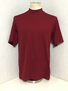 ⛳️Men's Nike Dri Fit Mock Neck GOLF Short Sleeve SHIRT SZ S Burgundy $12.99