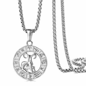 Real Stainless Steel 12 Zodiac Sign Constellation Pendant Necklace Women Men $9.49