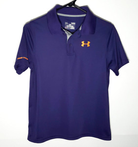 Under Armour Youth Polo Shirt Purple Polyester Button Casual Boys Large $15.95