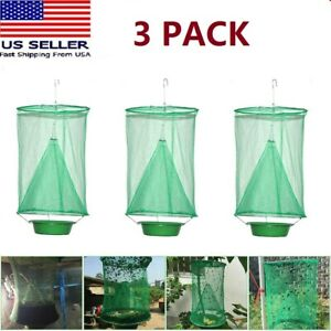 3 x The Ranch Fly Trap Reusable Fly Catcher Killer Cage Net Trap Pest Bug Catch