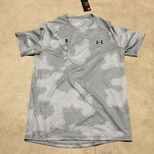 mens under armour tech tee gray camouflage heatgear pattern crewneck shirt 04 20 $16.99