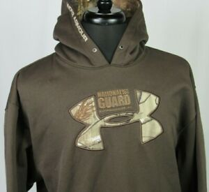 Men's Under Armour 100% Polyester Brown Camo National Guard Hoodie Large $26.99