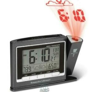 Projection Alarm Clock Weather Monitor Large LCD Screen Atomic Time