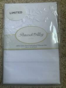 NWT Peacock Alley Hand Embroidered Cotton White KING Pillowcases SET Limited