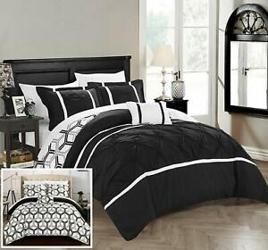 NEW Chic Home Marcia 4 Pc. Reversible Comforter Set Bedding w Decorative Pillow