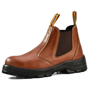 Safetoe Mens Boots Safety Work Shoes Leather Steel Toe Water resistant Non slip
