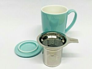Sweese Porcelain Tea Mug with Infuser and Lid, 15 OZ, Turquoise