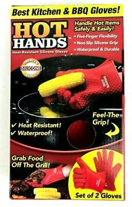 HOT HANDS Heat Resistant Silicone Gloves Set of 2 As Seen On TV for BBQ Oven NEW