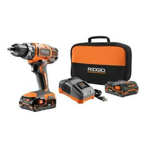 RIDGID Drill Driver Kit 12 in. 18V Lithium-Ion Cordless 2-Speed Battery Charger  $130.19
