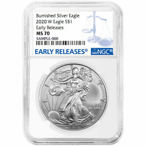 Presale - 2020-W Burnished $1 American Silver Eagle NGC MS70 Blue ER Label $84.95