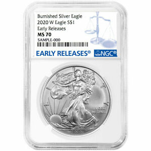 Presale 2020 W Burnished $1 American Silver Eagle NGC MS70 Blue ER Label