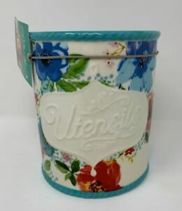 The Pioneer Woman  Floral Utensil Holder Crock Melody Stoneware
