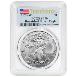 Presale - 2020-W Burnished $1 American Silver Eagle PCGS SP70 FS Flag Label $84.95