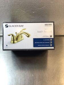 "GLACIER BAY Builders 4"" Centerset 2-Handle Low-Arc Bathroom Faucet Brass Ll113"