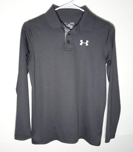 Youth Under Armour Polo Shirt Long Sleeve Gray Polyester Boys Large $14.95