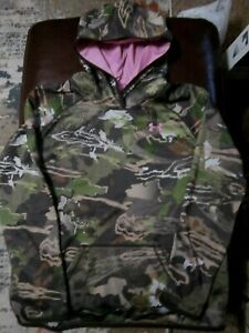 UNDER ARMOUR Youth Size XL Coldgear Camoflauge Pink Hood Lining logo Hoodie $24.99