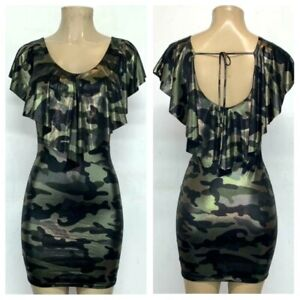 Black Gold Silver Camouflage Dress Mini Bodycon Stretch Casual Party Evening