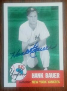 Signed Archives card of Yankees star Hank Bauer EX cond.