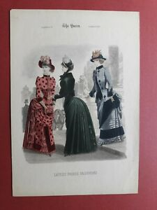 1883 Hand colored Lithograph of Latest Paris Fashions from quot;The Queenquot; Magazine $35.00