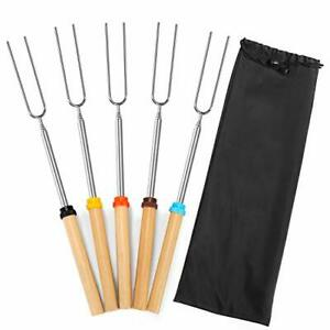 Mluchee Marshmallow Roasting Sticks Smores Skewers for Fire Pit 5Pcs 32inch