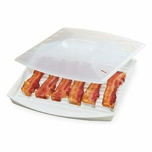Microwave Bacon Grill Cooker Cookware Tray Rack Pan with Cover Kitchen White