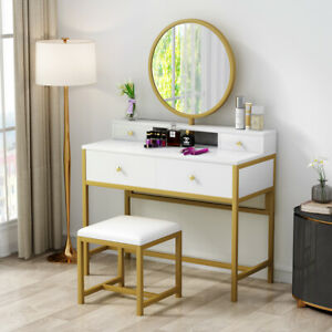 Makeup Vanity and Stool Set Dressing Table Dresser Desk w/ 4 Drawers for Bedroom