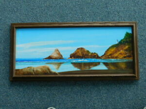 Vintage Cape Disappointment WA Heceta lighthouse Oil Painting by R Jurries $199.99