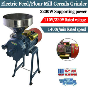 110V 2200W Electric Grinder Wet&Dry Feed/Flour Mill Cereals  Grain Corn Wheat.