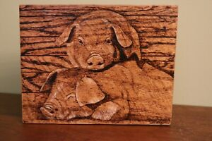 Piglets hand made wood burnt picture on rough cut oak
