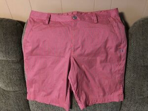 Under Armour 4 pocket Plaid shorts mens 38, Red Gray Pattern.Golf Casual. VGC $8.99