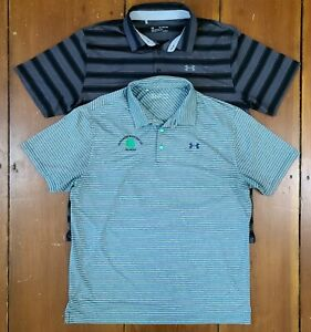 Under Armour Mens Loose Heat Gear Golf Polo Shirts Lot of 2 striped s s 2XL XXL $27.50