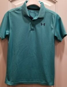 Boys Under Armour Aqua Green Collared Performance Golf Shirt Size Youth Large $10.50