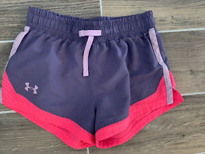 Girls Under Armour Shorts Medium Purple Pink Athletic Excellent Condtion M $6.02