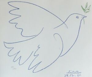 PABLO PICASSO COLOMBE BLEUE SIGNED HAND NUMBERED 3271000 LITHOGRAPH BLUE DOVE  $278.00