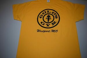 Gold's Golds Gym Westport Kansas City Missouri t shirt Men's XL Yellow $35.00