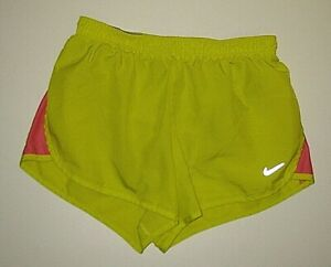 NIKE DRI FIT YELLOW ATHLETIC RUNNING SHORTS WITH LINER WOMEN'S SIZE XS $1.04