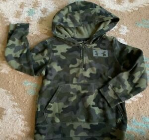 UNDER ARMOUR CAMO BOYS 1 4 ZIP YXS 6 HOODIE JACKET POLY COTTON $6.99