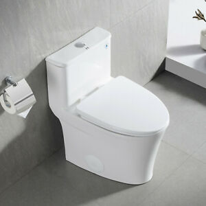 Compact White Ceramic Modern One Piece Elongated Toilet 1.28GPF Seat Included $279.00