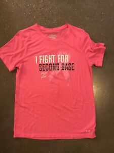 UNDER ARMOUR PINK BREAST CANCER SHIRT I FIGHT FOR SECOND BASE SZ MEDIUM $12.00