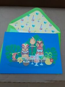 Papyrus HAPPY BIRTHDAY CARD 3D Tropical Tikis and Drinks. Glitter Free Ship