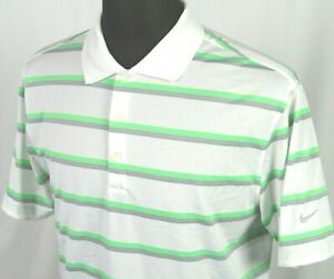 Men's Nike Golf Dri Fit Tour Performance 100% Polyester Striped Polo Shirt MED $20.50