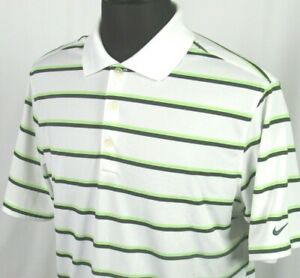 Men's Nike Golf Dri Fit Tour Performance 100% Polyester Striped Polo Shirt Large $17.00