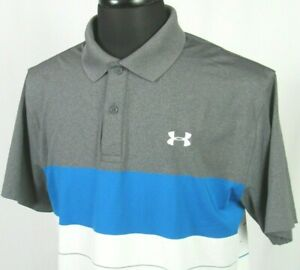 Men's Under Armour Heat Gear Short Sleeved Poly Elastane Polo Golf Shirt Large $8.50