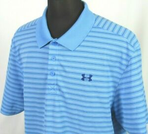 Men's Under Armour Heat Gear Short Sleeved 100% Polyester Polo Golf Shirt XXL $14.05