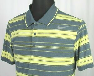 Men's Nike Dri Fit Tennis Short Sleeved Striped Poly Cotton Polo Golf Shirt LRG $15.50